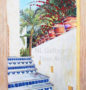 Surprise Beyond The Blue Tiled Stairs –  Award winning painting & on exhibit three times!