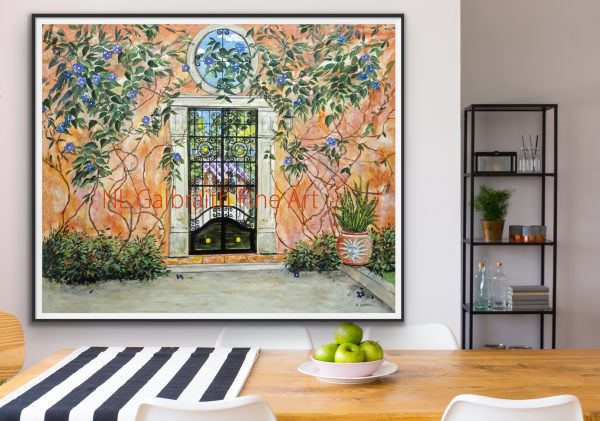 Fine art of a garden party inside a colorful garden wall in a dining area