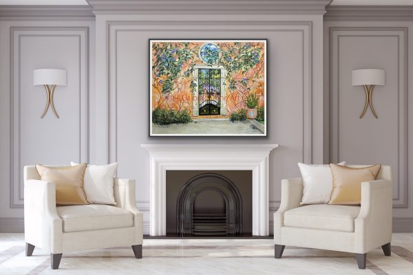 Fine Art giclee with orange stuccoed garden wall over a fireplace