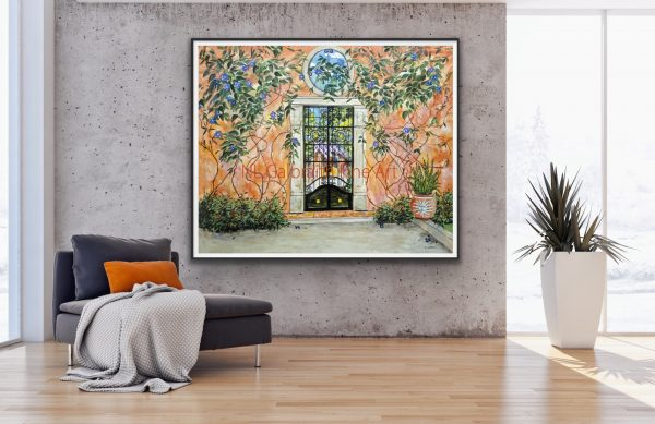 Jumbo giclee of a colorful orange garden wall with a party inside by a gray chaise