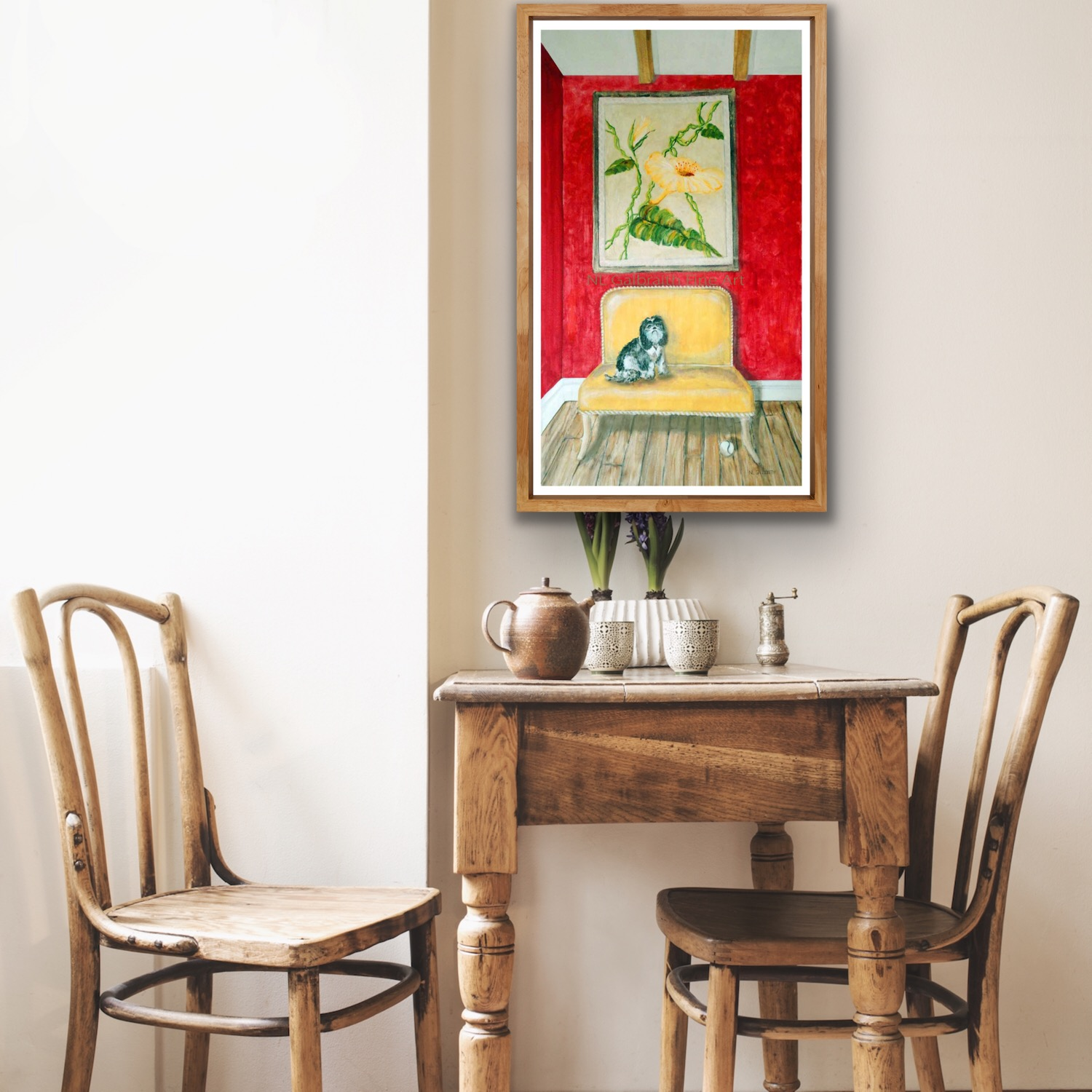 Colorful print of a dog on a sofa in a dining area
