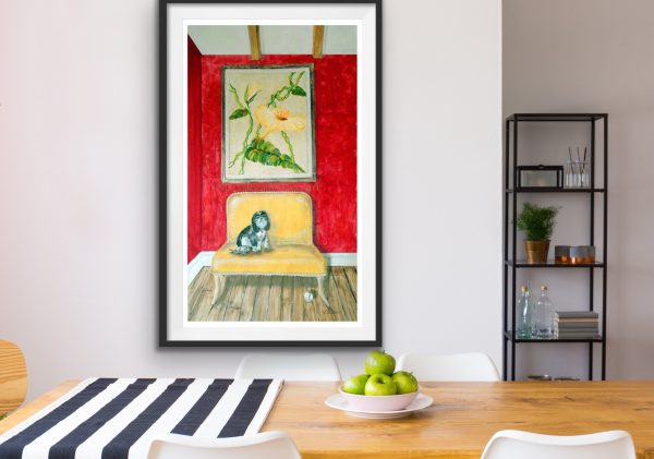 Giclee of a small dog on a sofa in a dining room
