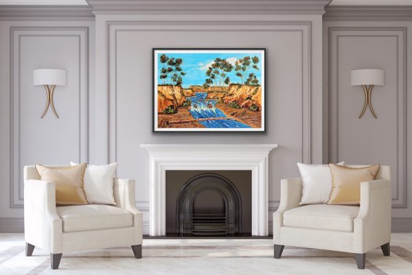 eucalyptus canyon with a rushing river over a fireplace