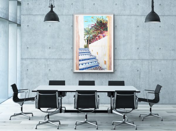 Oversized office conference room fine art of Spanish blue tiled staircase and flowers
