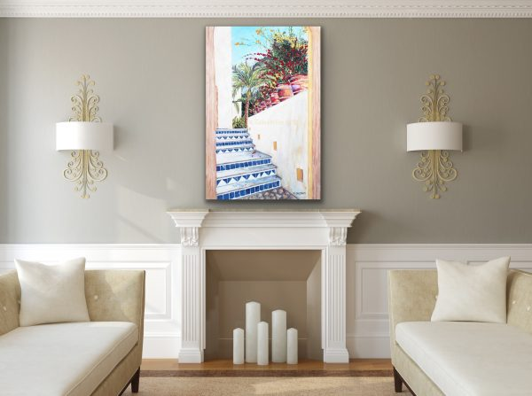 Fine Art painting of a Mexican blue tiled staircase with terra cotta flower pots over a fireplace