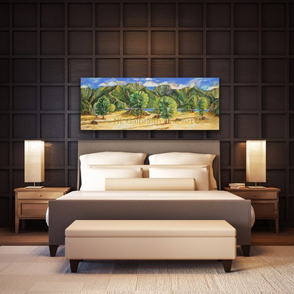 Oversized colorful landscape of mountains water fields and trees over a bed or in a hotel