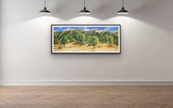 Elongated fine art giclee of a mountainous landscape near sunset in a hallway