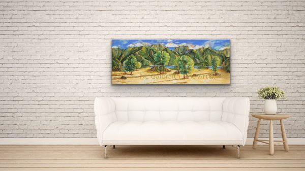 Large mountainous landscape over a sofa for an office restaurant or lounge area