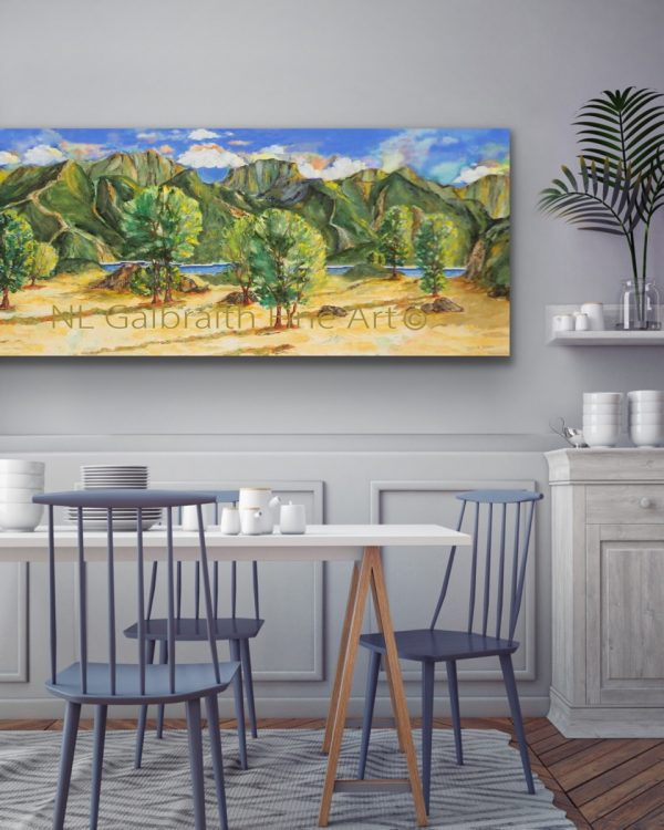Long giclee of a mountainous landscape in a dining room