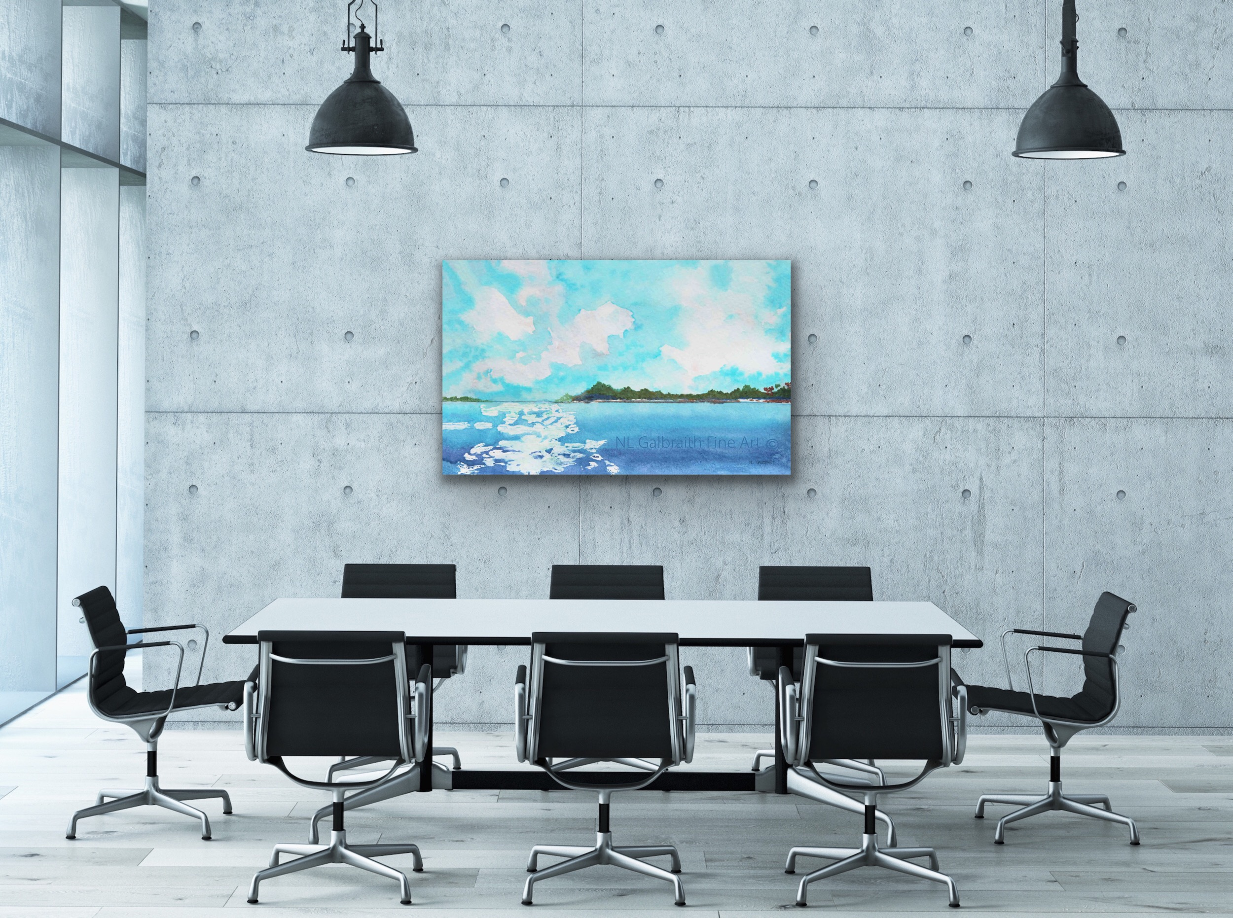 Oversized fine art of mountainous tropical islands in an office conference meeting room