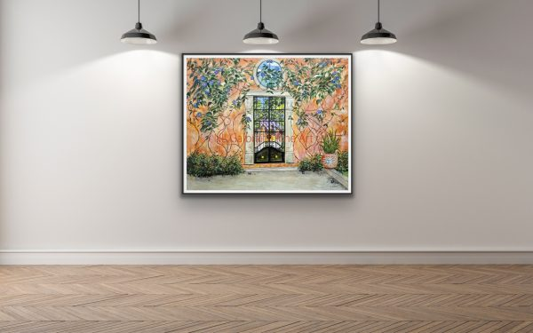 Large giclee of an orange stuccoed garden wall with 3 lights