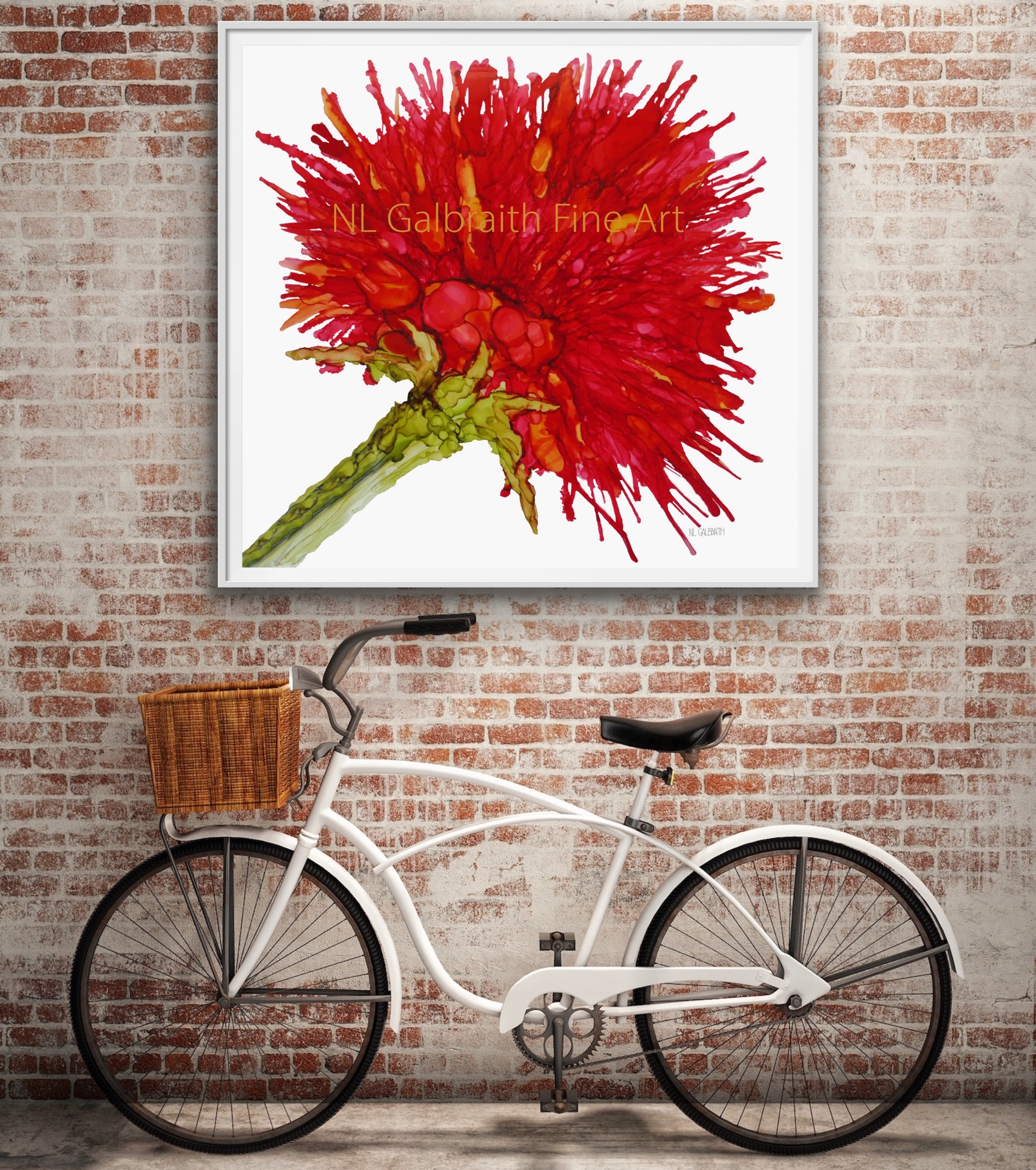Oversized Crimson Red Flower Graphic on a Brick Wall Over a Bike