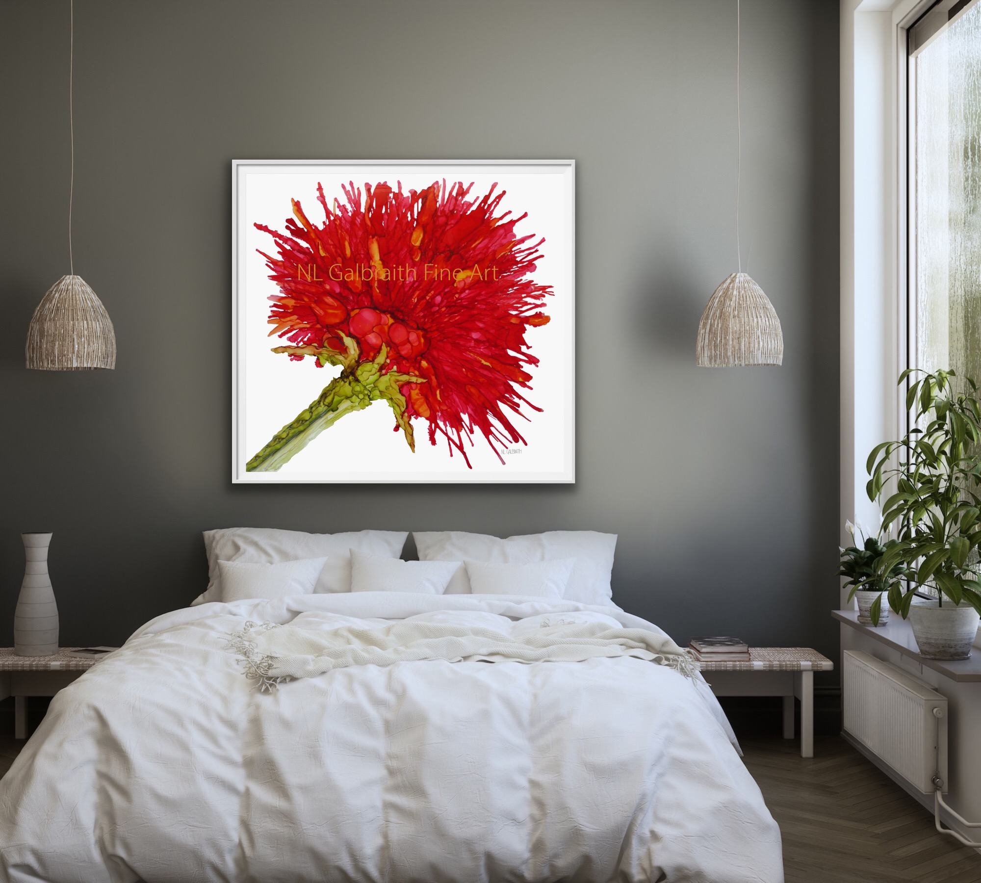 Fine Art Oversized Crimson Red Flower Graphic Over a White Bed