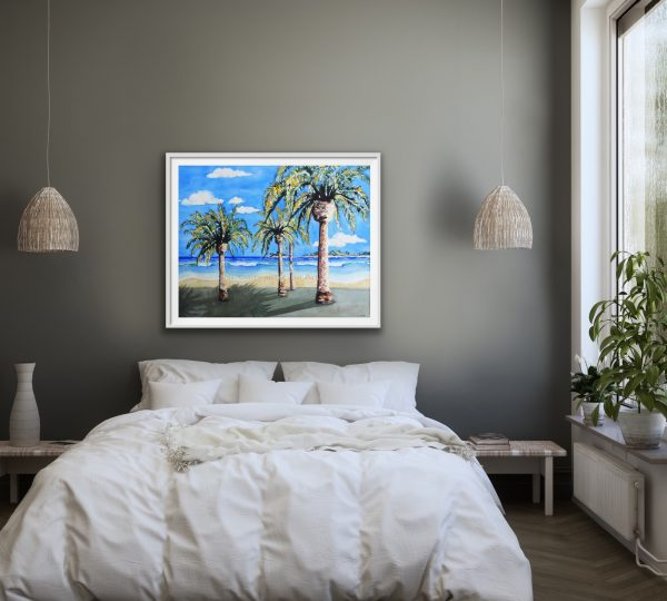 Large beach giclee with waves palms islands over a bed