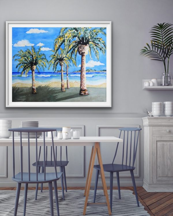 Large beach giclee with waves palms and islands in a dining room