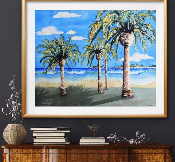 Best beach in the south with sand surf palms islands over a cabinet