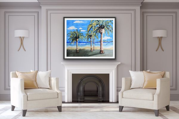 Refreshing vacation scene with a beach palms islands and waves over a fireplace