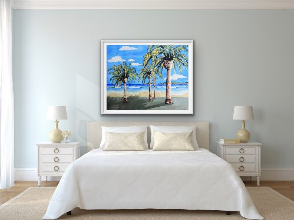 Sandy beach waves palms islands is paradise to relax in over the bed