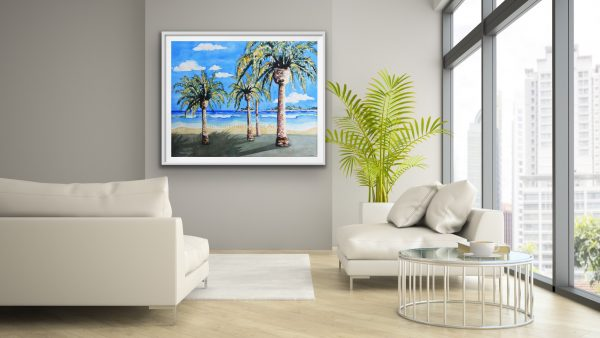 Large fine art with a tropical beach scene of waves palms and islands in a loft apartment
