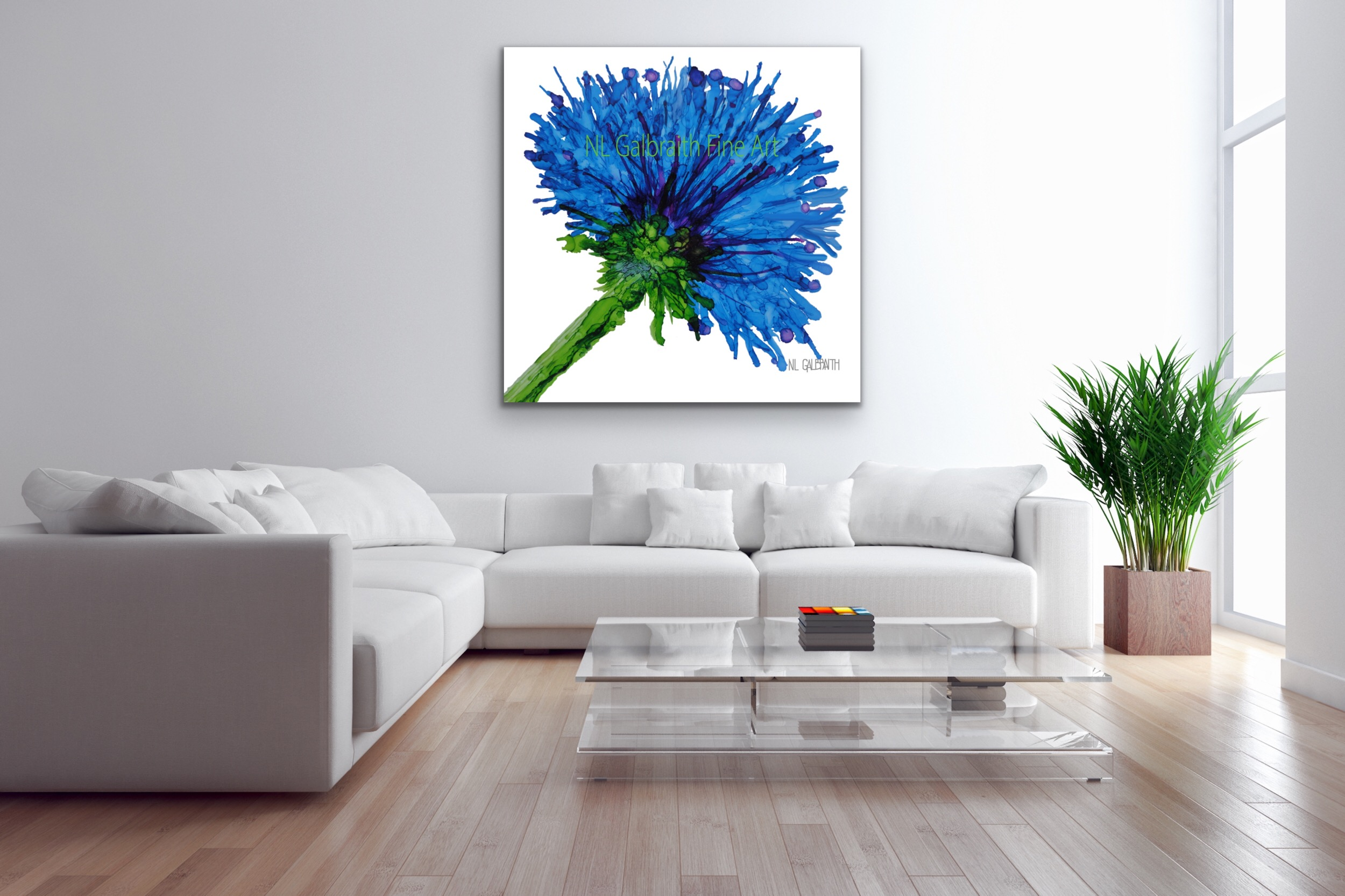 Fine Art Blue Flower Oversized Graphic Over a White Sectional with Tall Ceilings