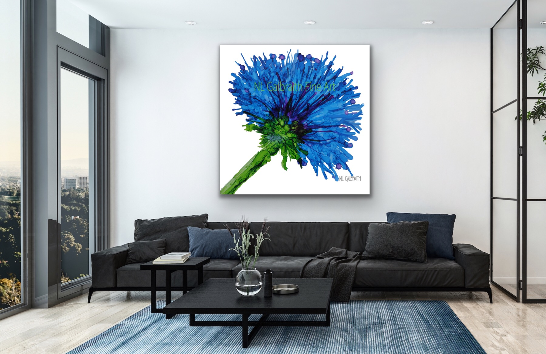 Oversized Blue Flower Graphic Over a Black Sofa in a High Rise Loft Flat Apartment