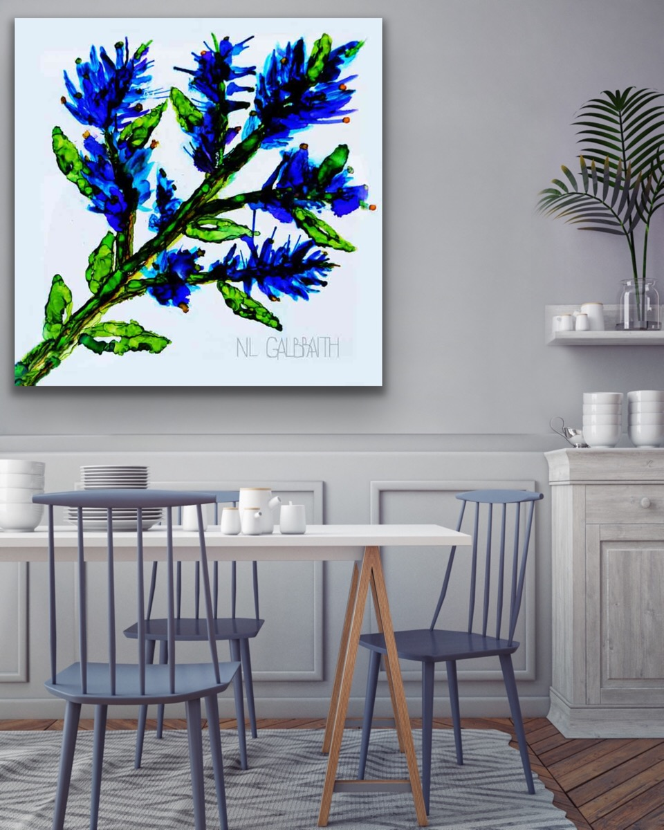 Oversized Blue Sprig Flower in a Dining Room with Blue Chairs