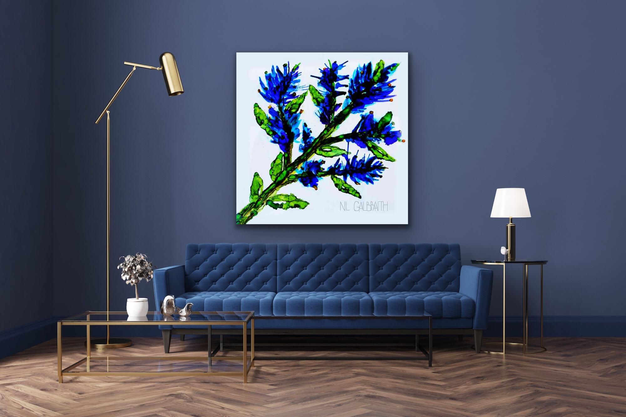 Fine Art Large Blue Sprig Flower Graphic Over a Blue Sofa