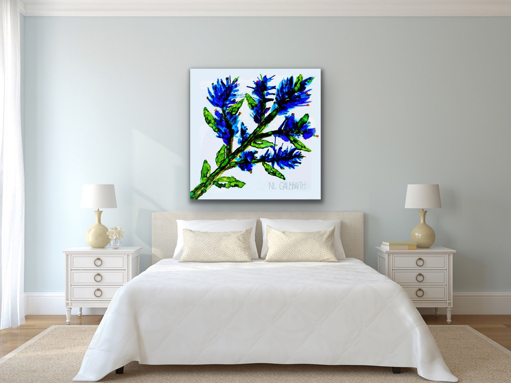 Large Blue Sprig Flower Graphic in a White Bedroom