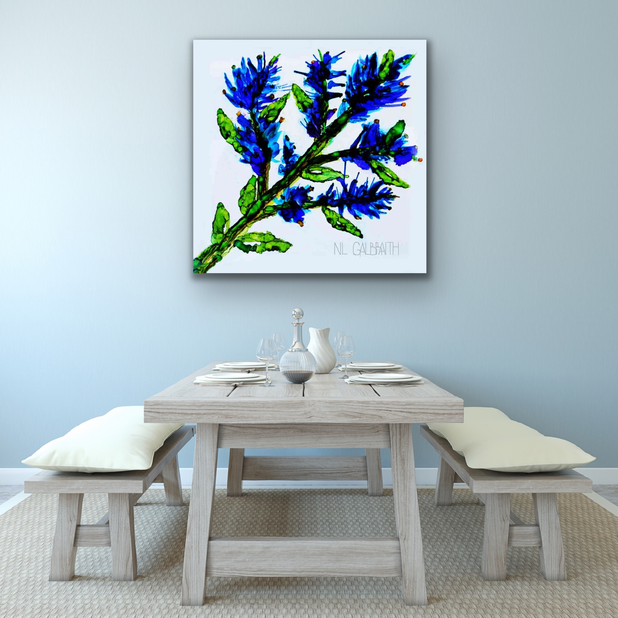 Large Blue Sprig Graphic in a Dining Area