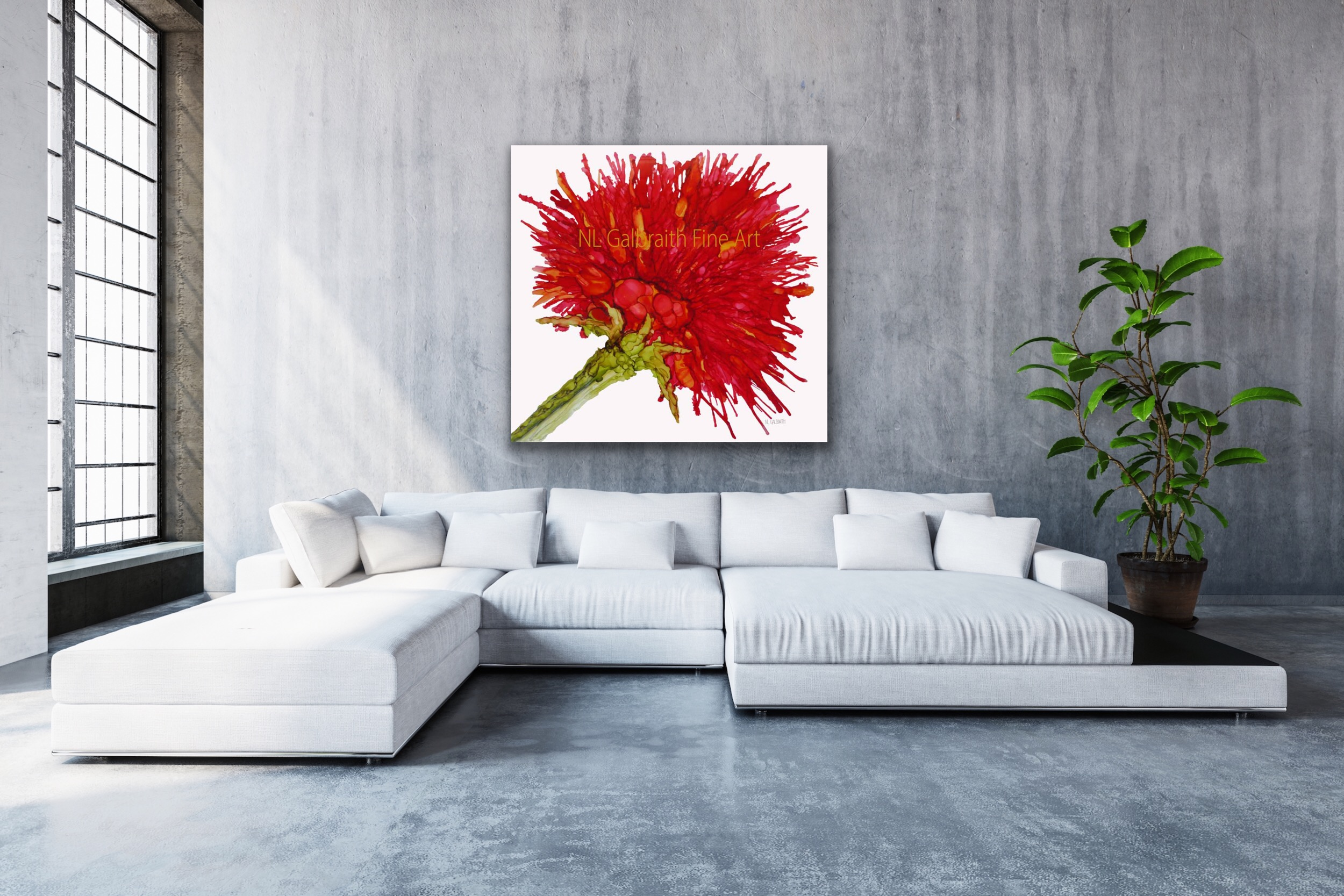 """Oversized Crimson Red Flower Over a White """"C"""" Sectional in a Loft Flat Apartment with Tall Ceilings"""