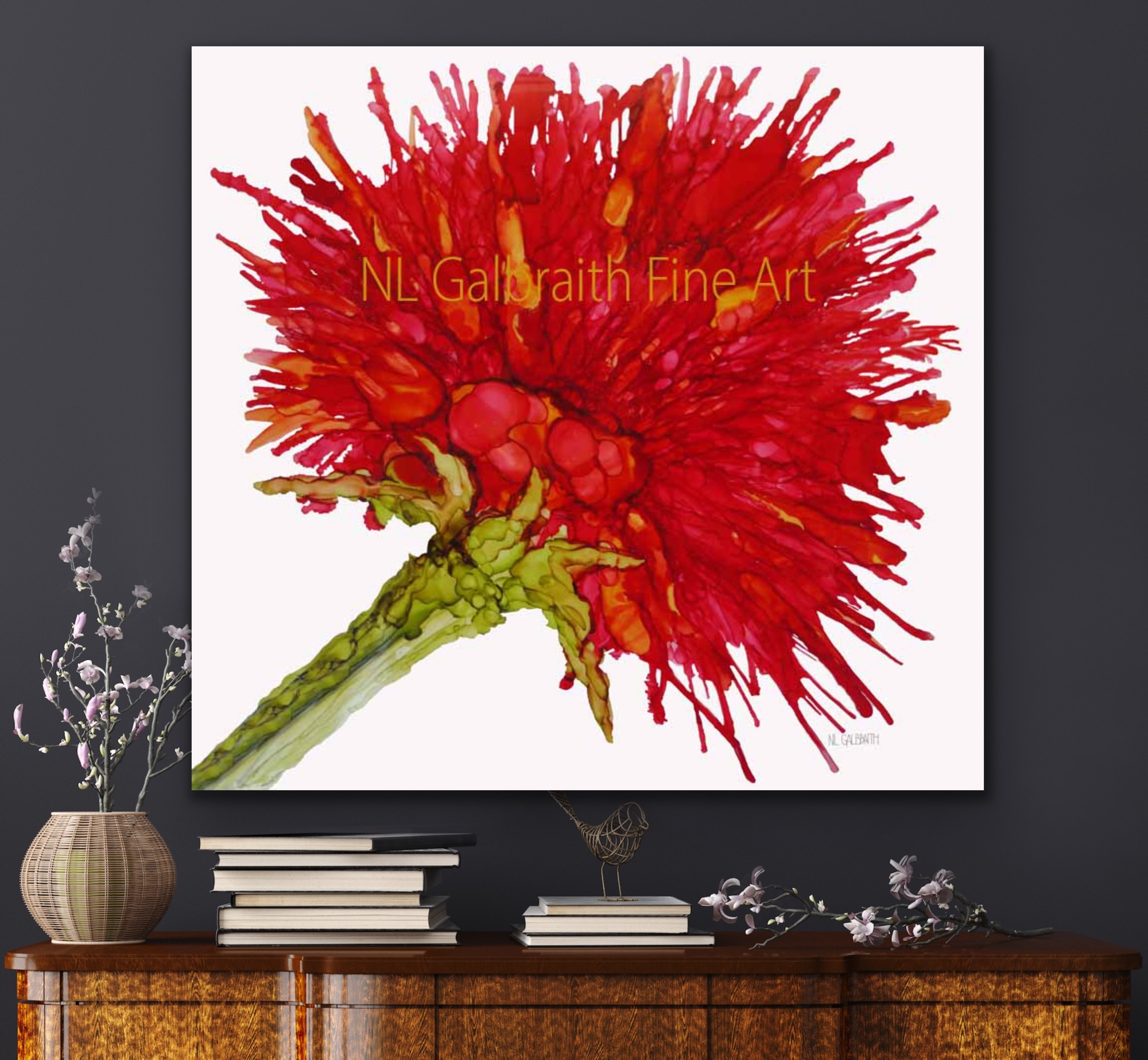 Fine Art Giclee of a Crimson Red Flower over a Side Table