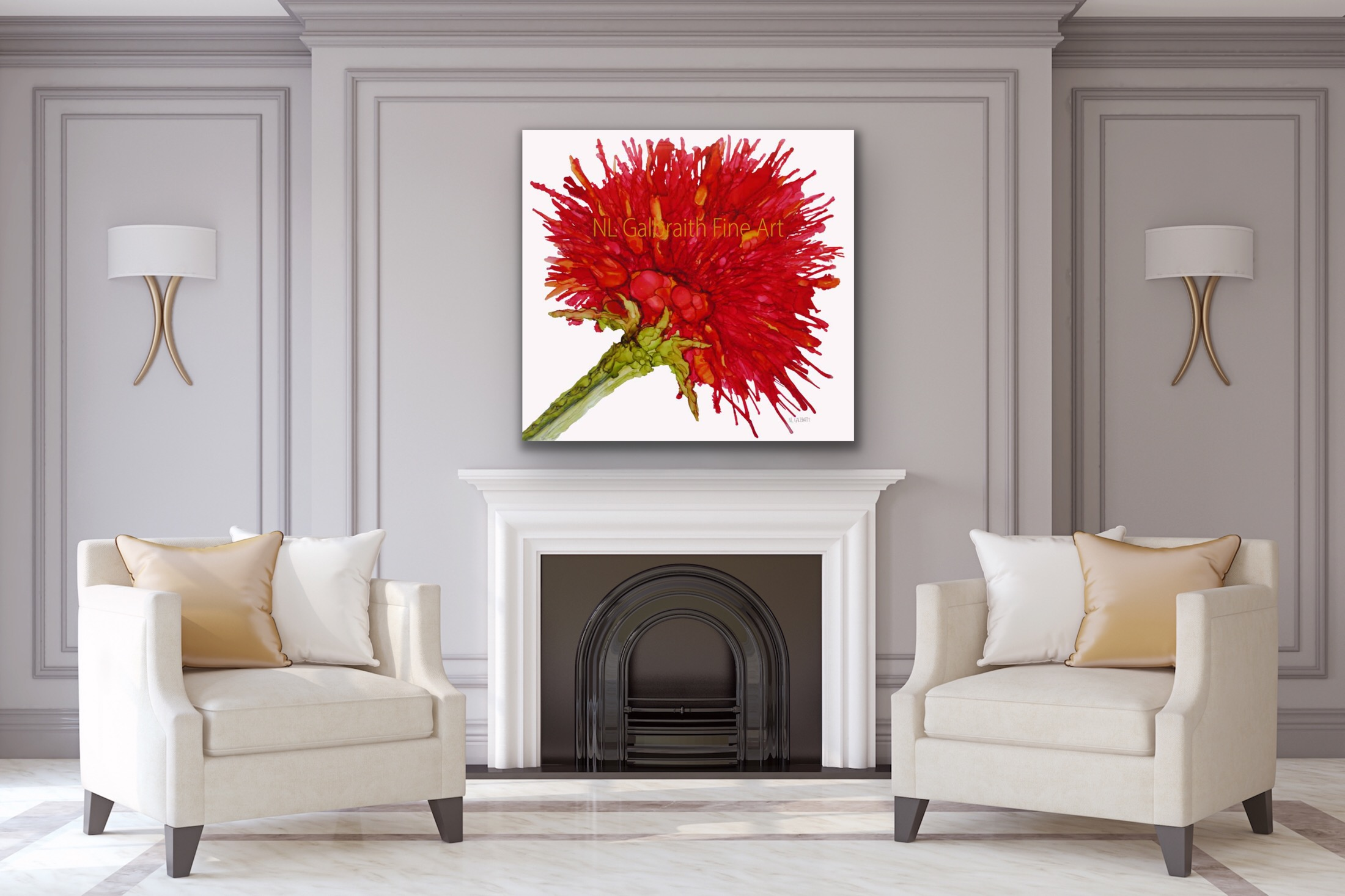 Fine Art Large Crimson Red Flower Graphic Over a Fireplace