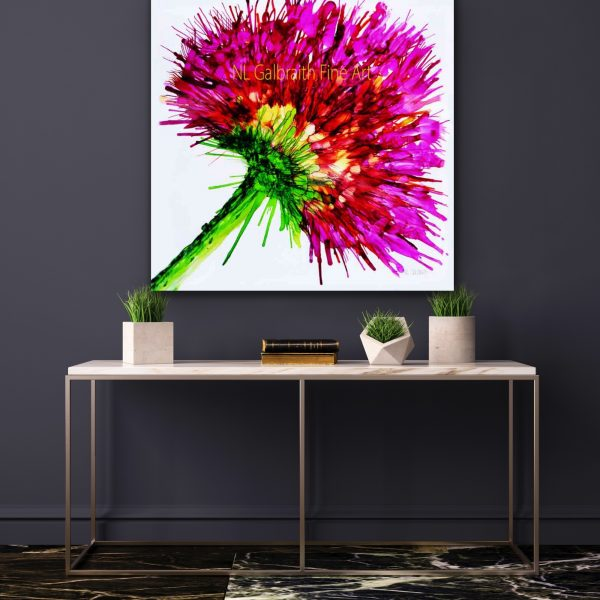 Oversized Graphic of a Hot Pink Flower In a Hallway Over a Table
