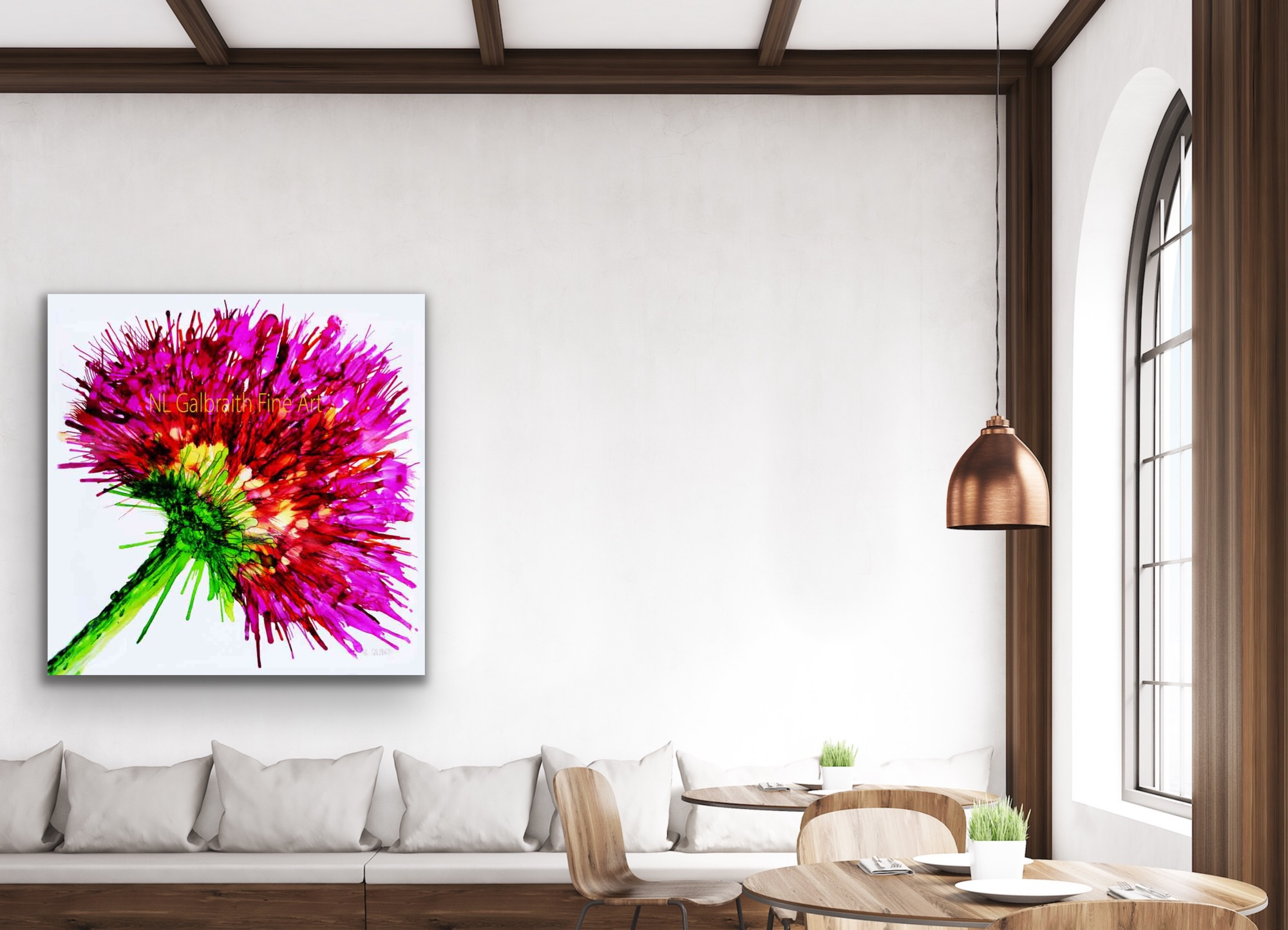 Large Pink Flower Graphic in a Living Room