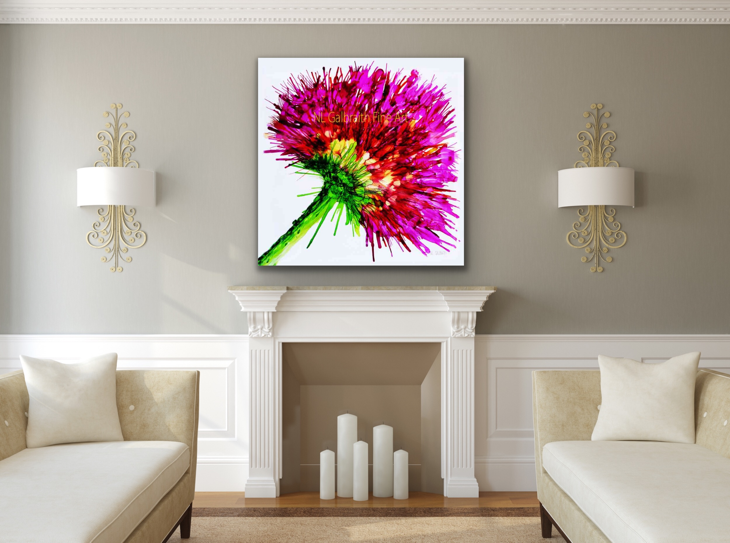 Large Pink Flower Graphic Over a Fireplace