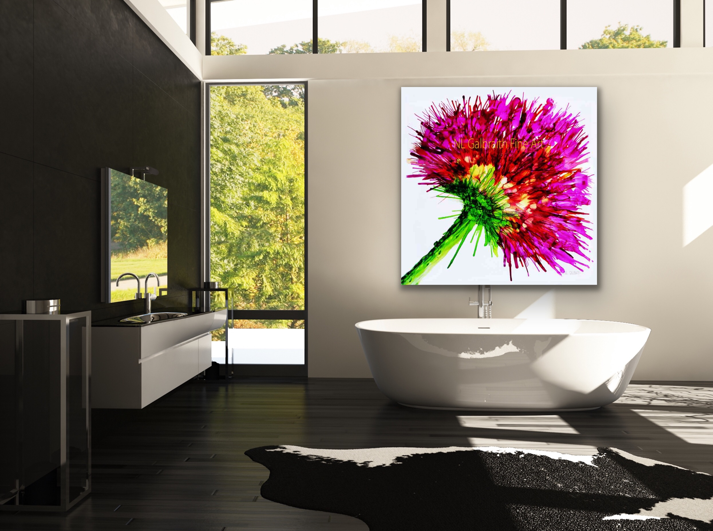 Oversized Graphic, Pink Flower in a Bathroom