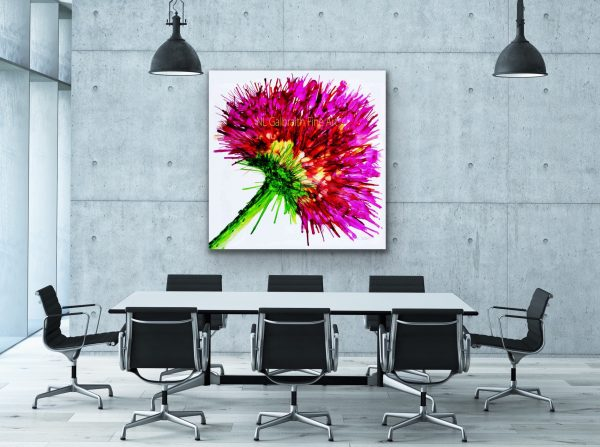 Fine Art graphic for office, hot pink flower