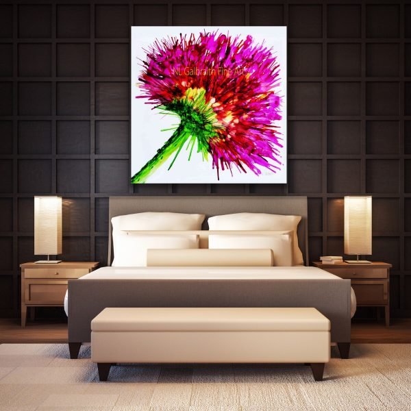 Oversized Pink Graphic Flower in a Bedroom