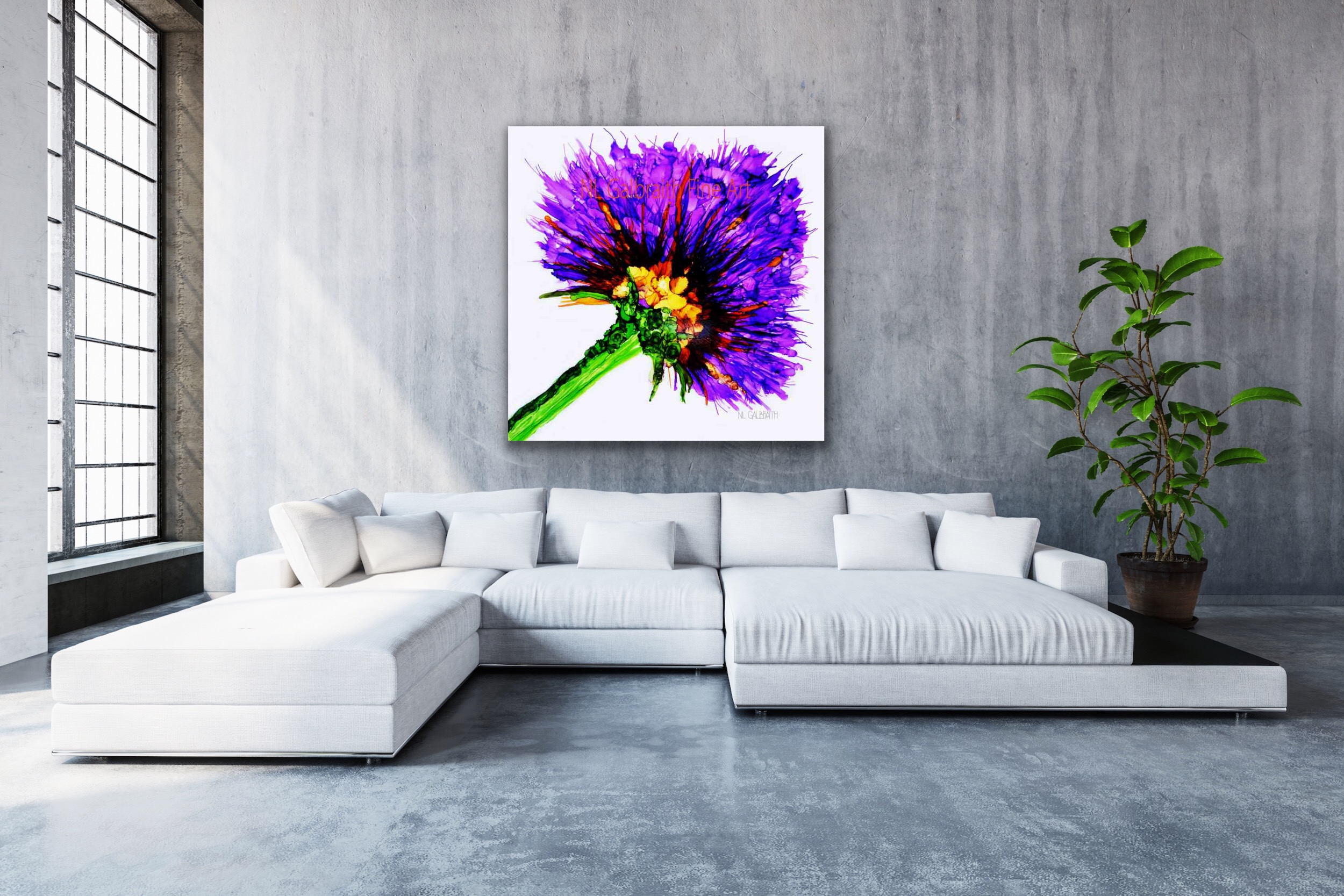 Oversized Purple Flower Fine Art Graphic Over a Sectional