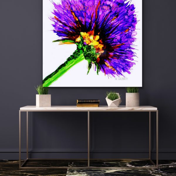 Large Purple Flower Graphic in an Entry Hall Over a Table