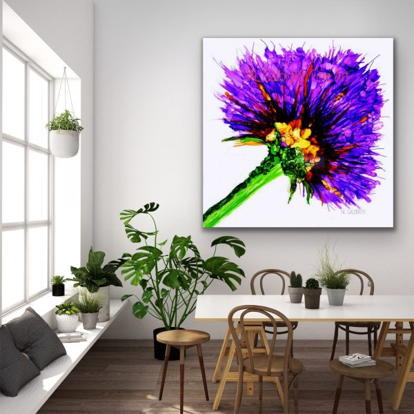 Large Purple Flower in a Dining Room