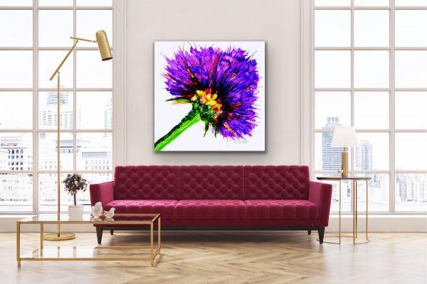 Oversized Purple Flower Graphic over a Plum Sofa