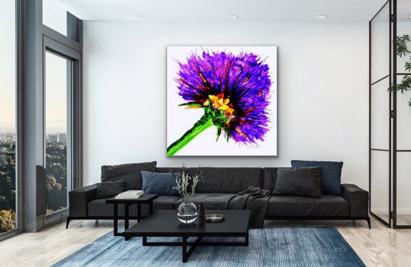 Oversized Purple Flower Graphic Over a Black Sofa in a Loft Flat