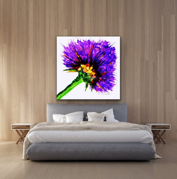 Oversized Purple Flower Graphic in a Bedroom