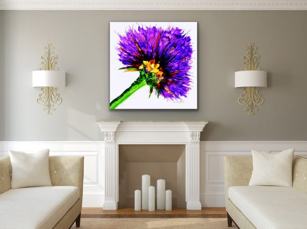Large Purple Flower Graphic Over a Fireplace