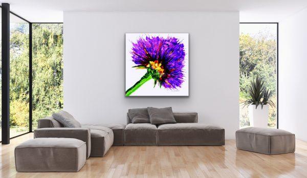 Oversized Fine Art Purple Flower Over a Gray Sectional