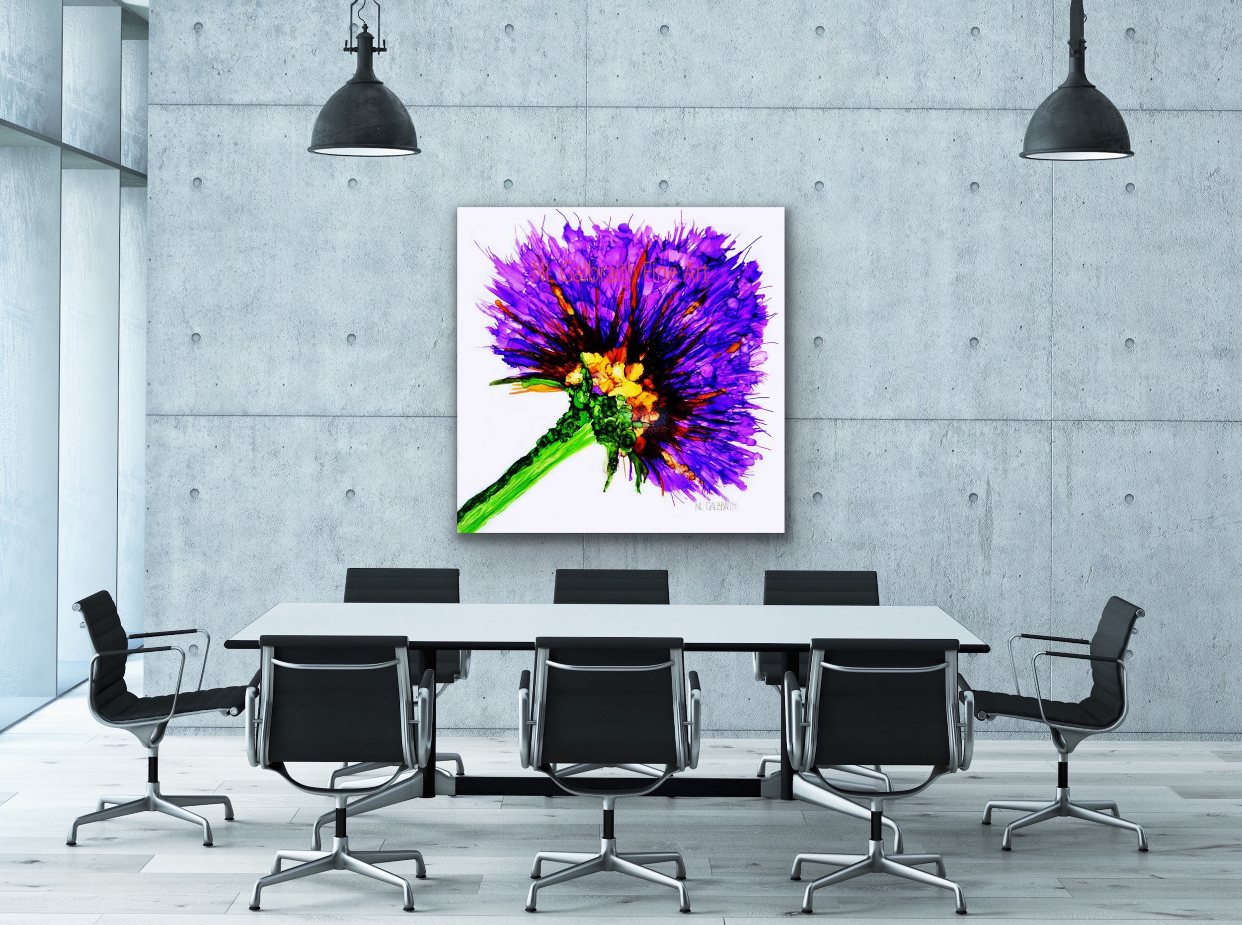 Oversized Fine Art Purple Flower Graphic in an Office Conference Room