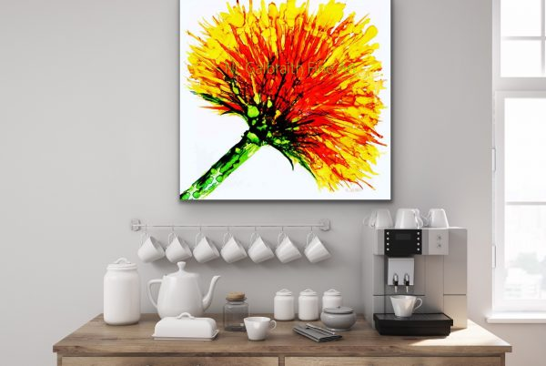 Large Yellow Orange Flower Over a Coffee Bar