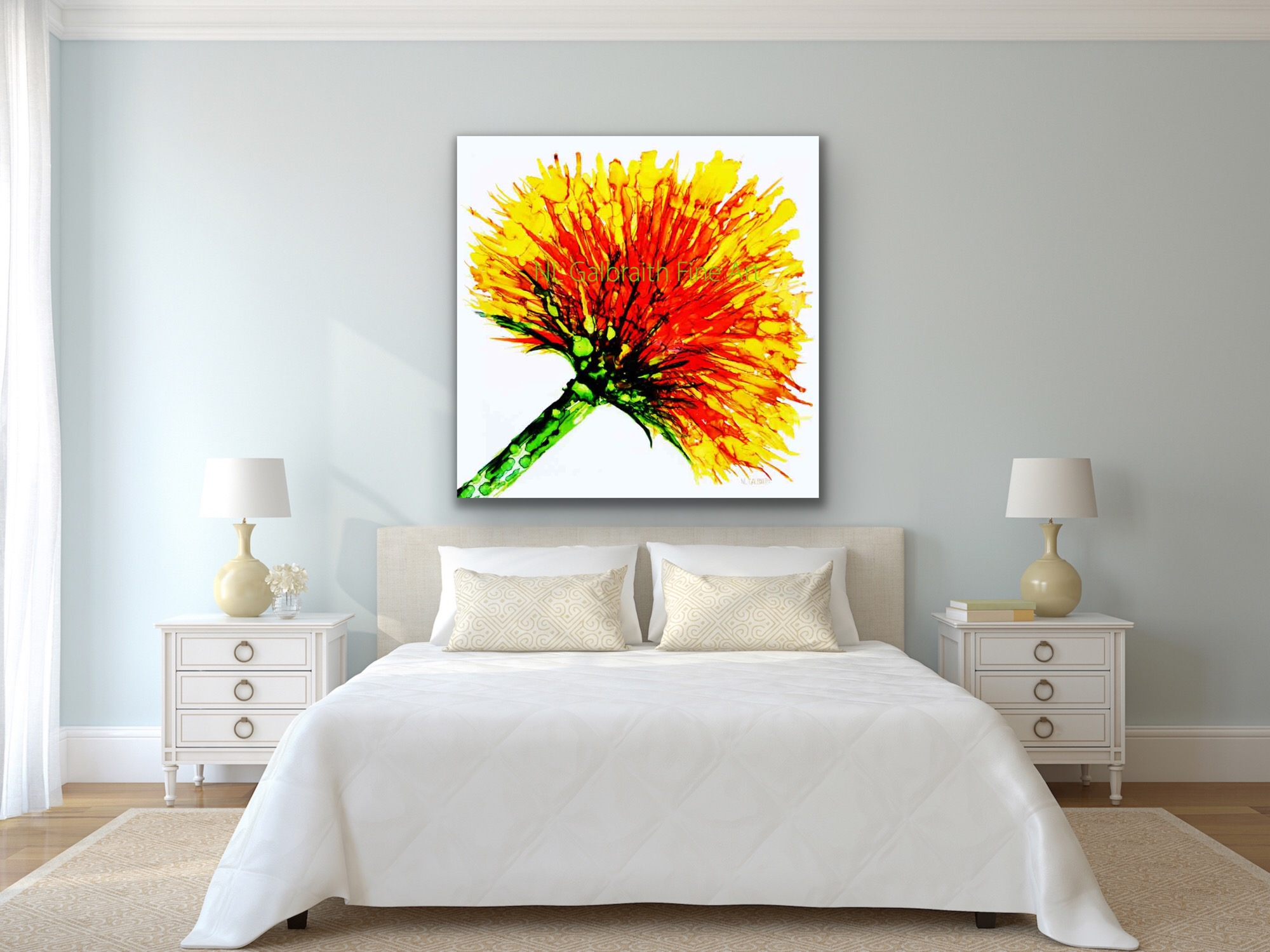 Oversized Graphic of Yellow Orange Flower in a White Bedroom