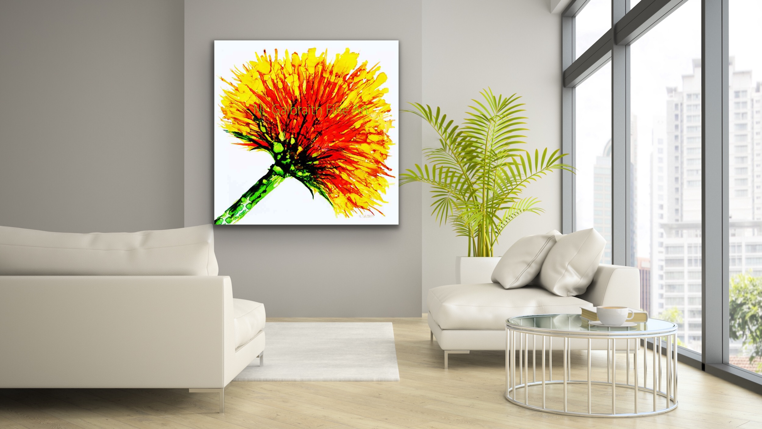 Oversized Yellow Orange Flower Graphic in a Loft Living Room